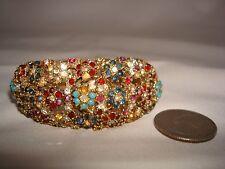 Vintage Lucerne Ladies Hidden Wristwatch w/ Rhinestones & Bead Spring Bangle