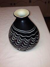 Nice Original  Hand Blown Black And White Swirl Vase  maker unknown