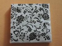 1 PACKUNG 20 Servietten weiß schwarz Muster Blumen black ornamente  WHITE