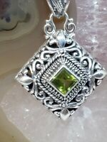Peridot & 925 Sterling Silver Filigree Necklace