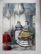Hand Coloured Victorian Dress Print Mrs Somerville - c1880 (Mr Romford's Hounds)