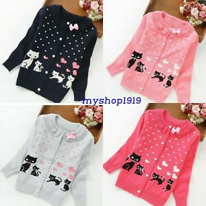 Girls Cardigan Autumn Winter Long Sleeve Knitted School Jumpers Age 2-13 Years