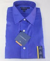 Men's Croft & Barrow Essentials Spread Collar Dazling Blue Dress Shirt Slim Fit