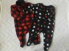 Two Fleece All-in-ones Baby Twins Boys Girls 0-3 months