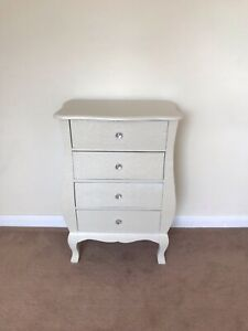 Cream Metal Embossed Bedside Cabinet 4 Chest Drawers Bedroom Shabby Chic Vintage