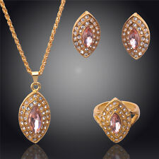 18K GOLD PLATED & GENUINE CUBIC ZIRCONIA PINK NECKLACE, EARRING &  RING SET