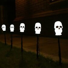 SET OF 5 OUTDOOR GARDEN PATH HALLOWEEN PARTY SKULL STAKE LED DECORATION LIGHTS