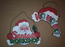 VINTAGE WOOD~CHRISTMAS SANTA & HO-HO-HO PLAQUE/HANGING/ORNAMENT/SIGN