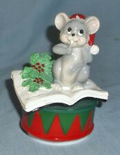 Plastic Christmas Mouse on Book & Drum Music Box Tis The Season Decoration