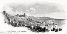 Almeria: Panorama con Cabo de Gata.Andalusia.Andalucia.España.Stampa Antica.1880