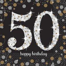 16 x Nera 50 Anni Tovaglioli Argento Oro 50th Birthday Articoli per la Tavola