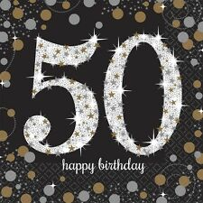16 x Black Age 50 Napkins Black gold silver 50th Birthday Tableware Napkins