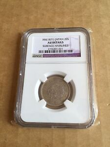 1874 Meiji 4 20S Silver Coin AU Details