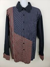 Francois Girbaud Blue Red Striped Vintage Long Sleeve Button Shirts Size 4XL