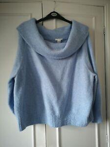 Ladies H&M Off The Shoulder pale blue Jumper Size Large