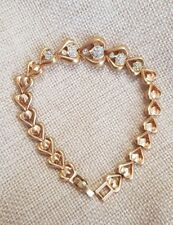 Bracelet femme en plaqué or maille coeur et strass V761