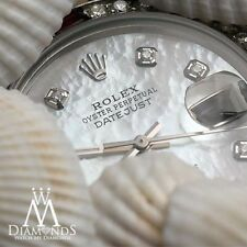 Women's Rolex 36mm Datejust White MOP Mother Of Pearl Dial Ruby & Diamond Bezel