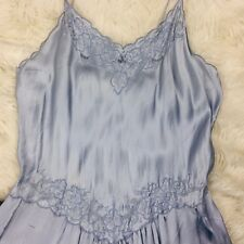 Vtg Slip Dress Lingerie Grey Blue SMALL Babydoll Nightgown CHEMISE