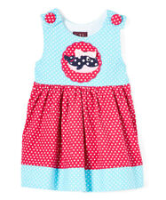 NWT Lil Cactus Whale Baby Girls Blue Red Polka Dot Corduroy Dress 3-6 M