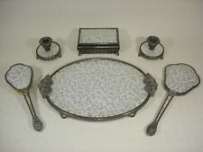 Regent of London Dressing Table Set with Silver Stitchwork