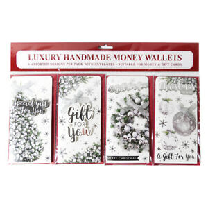 4pk Handmade 3D Money Wallet Christmas Silver Tree Wreath with bow Traditional