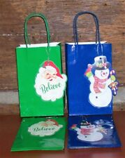 LOT OF  8 NEW CHRISTMAS  HOLIDAY GIFT BAGS W TAG 5X8X3 FREE SHIP 2 STYLES