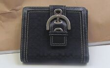 COACH BLACK & SILVER SIGNATURE  LOGO and LEATHER ACCENT WALLET~BIFOLD