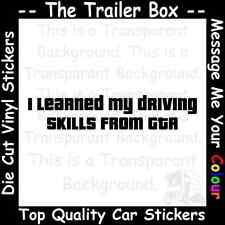 Appris driving skills gta drôle voiture/fenêtre jdm vw vag euro vinyl decal sticker