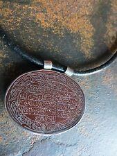 Antique Ottoman Muslim Islamic Carnelian Agate Pendant calligraphy cord necklace