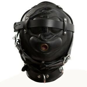 GENUINE LEATHER SENSORY DEPRIVATION BONDAGE SOFT LEATHER HOOD / MASK SD-HOOD3