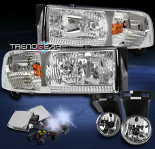 1994-2001 DODGE RAM CHROME CRYSTAL HEADLIGHT LAMP W/DRIVING FOG LIGHT+8K HID KIT
