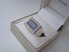 SUPERB SOLID STERLING SILVER ONYX & SIMULATED DIAMOND SIGNET RING SIZE U 10