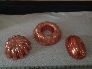 3 VTG Jello Gelatin Molds Pans Hanging Kitchen Wall Decor Copper Finish MIRRO BX