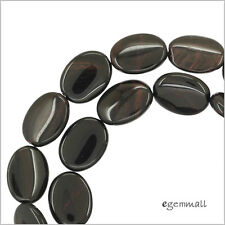 """15.5"""" Mahogany Obsidian Flat Oval Beads 12x16mm #89051"""