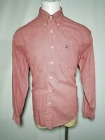 Tommy Hilfiger XL Red White Micro-Check Men's Long-Sleeve Button-Down Shirt