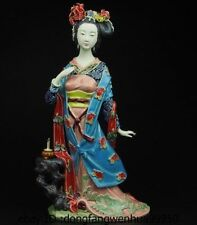 China Pottery Wucai Porcelain Display Decoration Woman Ladies Diao Chan Statue