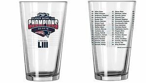 New England Patriots Super Bowl LIII 53 Champions Roster Pint Glass Tom Brady