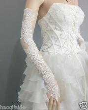 Lace Bow Long Wedding Glove Fingerless Opera Bridal Glove Evening Gloves