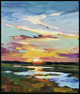 HAWKINS Sunset Clouds Thick Paint River Impressionism Oil Painting Art  Original