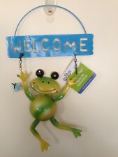 Garden Collection Adorable Metal Frog Welcome Sign New!