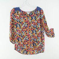 FLAW Anthropologie PORRIDGE 'Billion Petals' Floral Silk Blouse Size MEDIUM