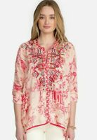 Johnny Was Wilton Embroidered Silk Blouse Sz L Floral