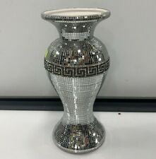 Crushed Diamond Ceramic Silver Vase Diamante Bling Home Decoration Ornament 25cm