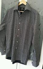 Jayman Hall London Black Floral Patterned Smart Fit Cotton shirt size 16.5 VGC
