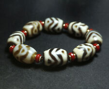 Old Tibetan Agate Dzi Beads 'Water Wave' Amulet Bracelet Blessed By Eminent Lama