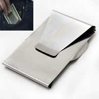Double Sided Stainless Steel Sliver Money Clip Pocket Purse Cash Credit Holder