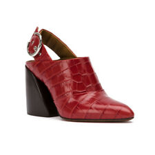 Chloé Women's Leather Croco Embossed Slingback Mule Pumps Red
