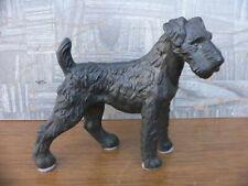 Vintage Cast Metal Airedale Irish Terrier Dog Large Figurine