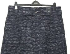 M&S Marks s22R Med Luxe Navy Blue Check Mid Rise Textured Aline Mini Skirt BNWT