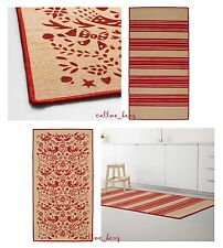 "IKEA Vinter 2016""Rug""Indoor/Outdoor Flatwoven Red Tan Folk Floral STRIPE 2-Sided"